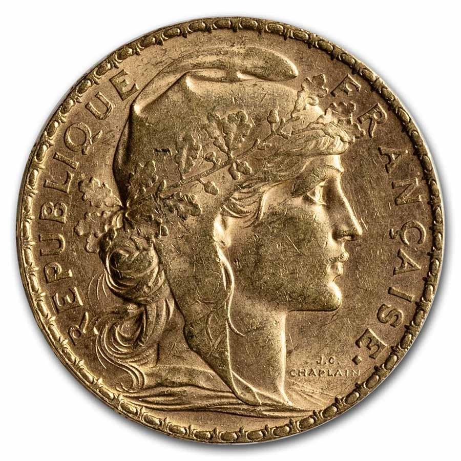 1904 France Gold 20 Francs Rooster AU