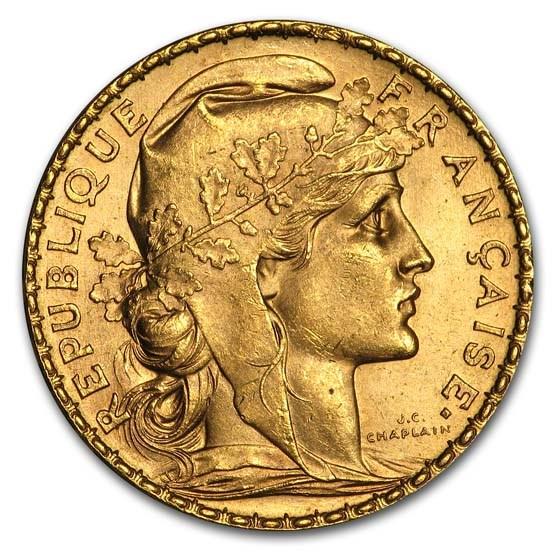 1904 France Gold 20 Francs Rooster BU
