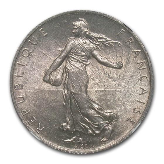 1904 France Silver 2 Francs Sower MS-64 NGC