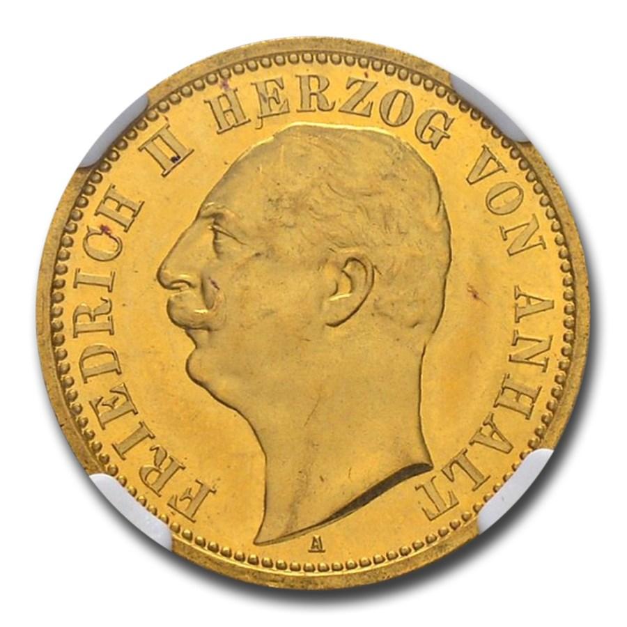 1904 German States Anhalt-Dessau Gold 20 Mark PF-64 NGC (CAMEO)