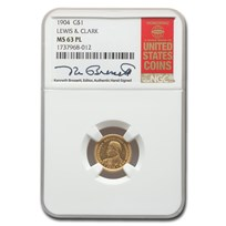 1904 Gold $1.00 Lewis & Clark MS-63 NGC (PL)