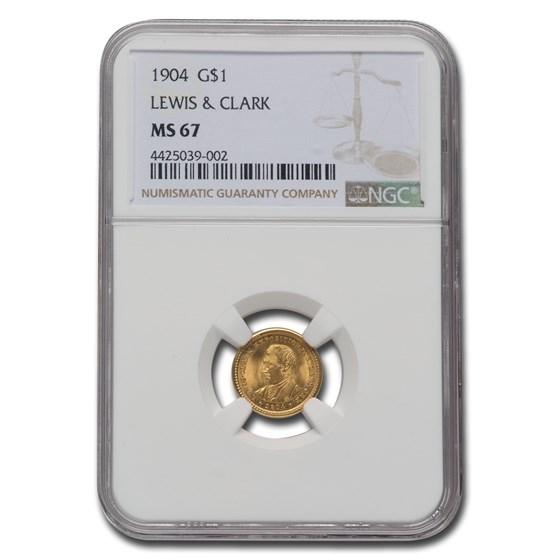 1904 Gold $1.00 Lewis & Clark MS-67 NGC