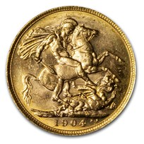 1904-M Australia Gold Sovereign Edward VII BU
