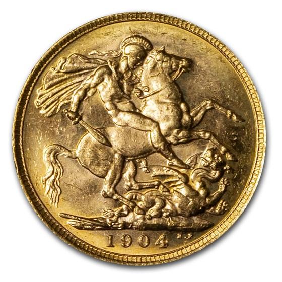 1904-M Australia Gold Sovereign Edward VII BU