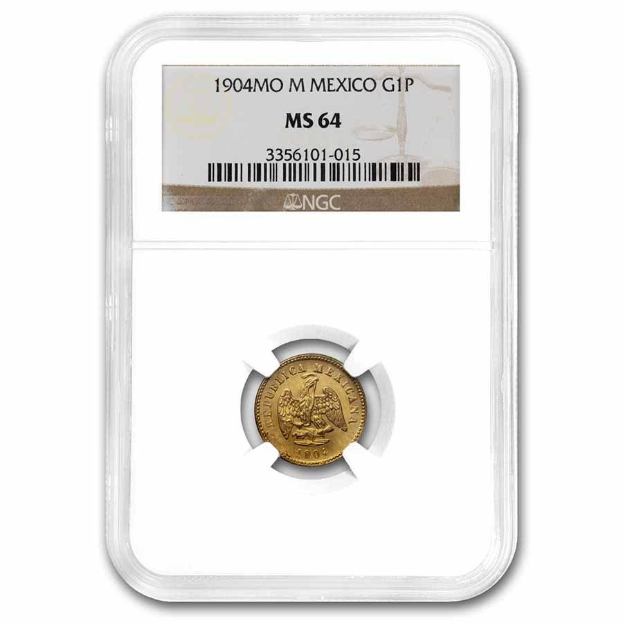 1904 Mo M Mexico Gold Peso MS-64 NGC