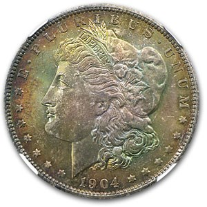 1904-O Morgan Dollar MS-64 NGC (Full Obv Toning)
