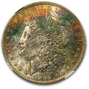 1904-O Morgan Dollar MS-65 NGC (Black & Rainbow Toning)