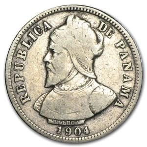 1904 Panama Silver 10 Centesimos Fine+