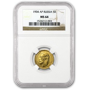 1904 Russia Gold 5 Roubles MS-64 NGC