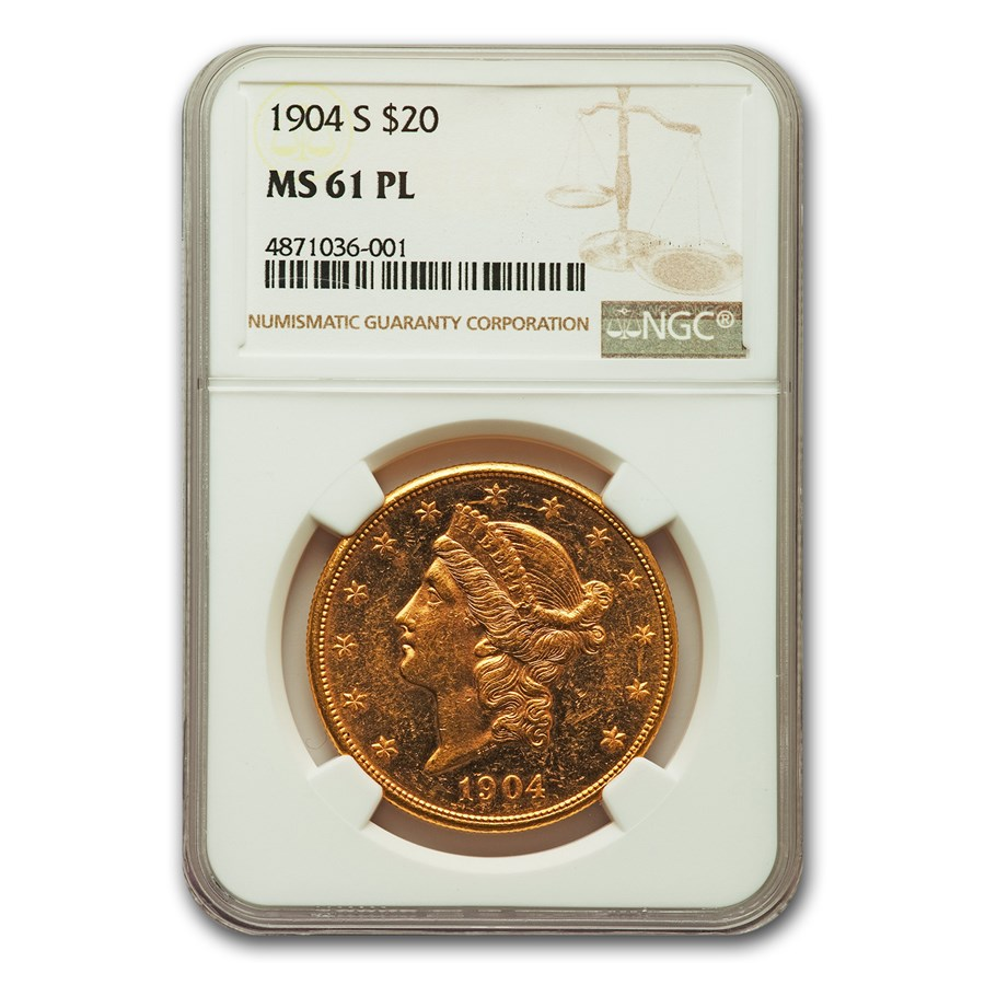 1904-S $20 Liberty Gold Double Eagle MS-61 NGC (PL)