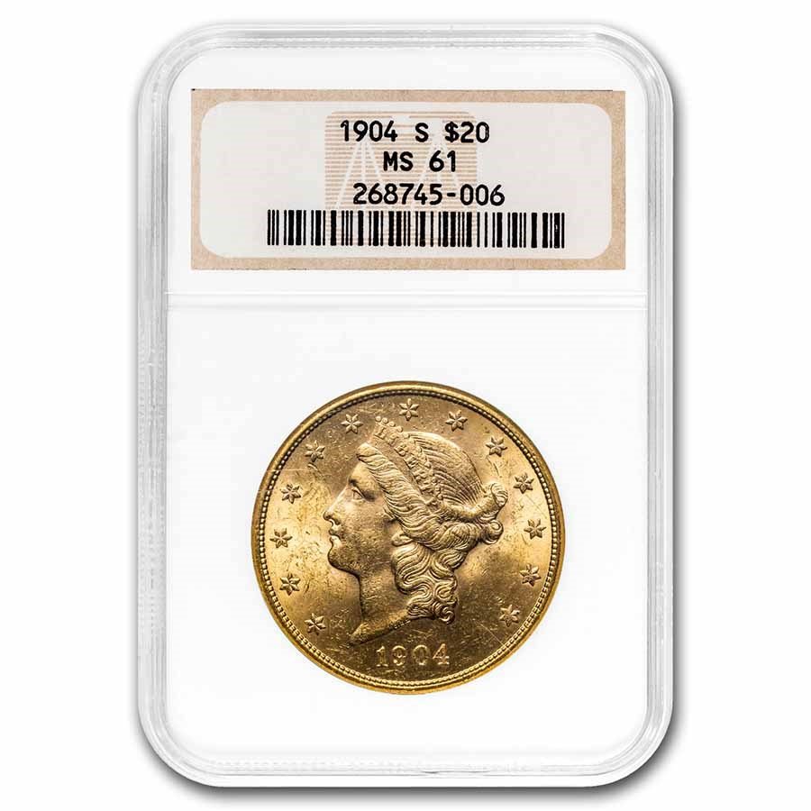 1904-S $20 Liberty Gold Double Eagle MS-61 NGC