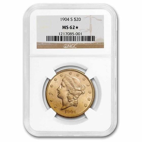 1904-S $20 Liberty Gold Double Eagle MS-62 NGC