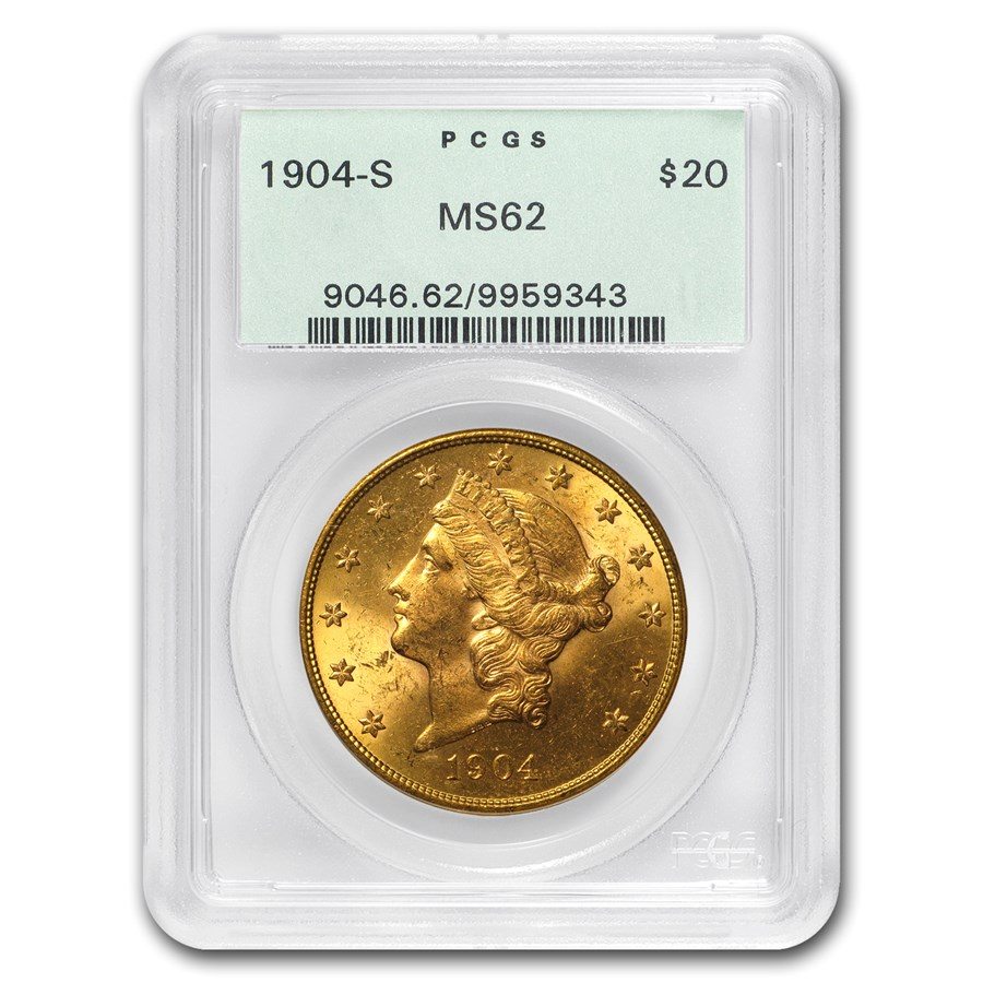 1904-S $20 Liberty Gold Double Eagle MS-62 PCGS