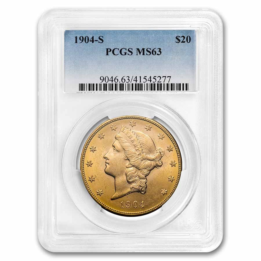 1904-S $20 Liberty Gold Double Eagle MS-63 PCGS
