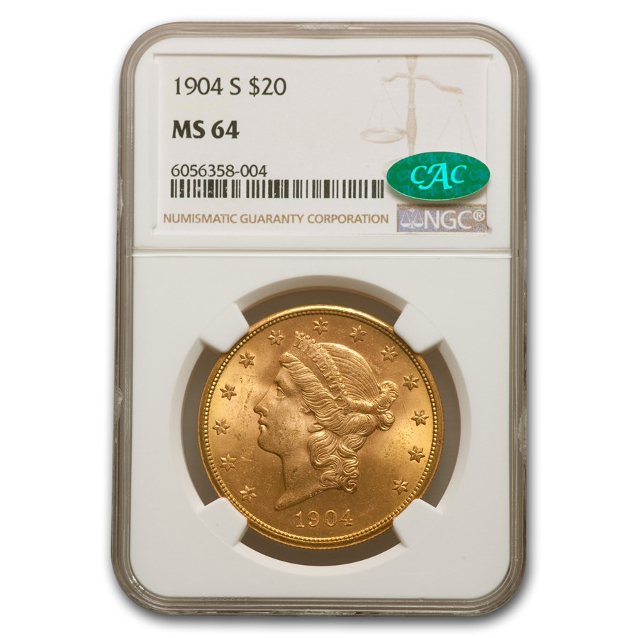 1904-S $20 Liberty Gold Double Eagle MS-64 NGC (CAC)