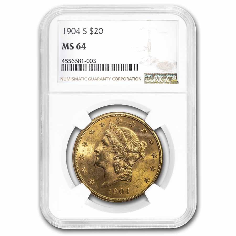 1904-S $20 Liberty Gold Double Eagle MS-64 NGC