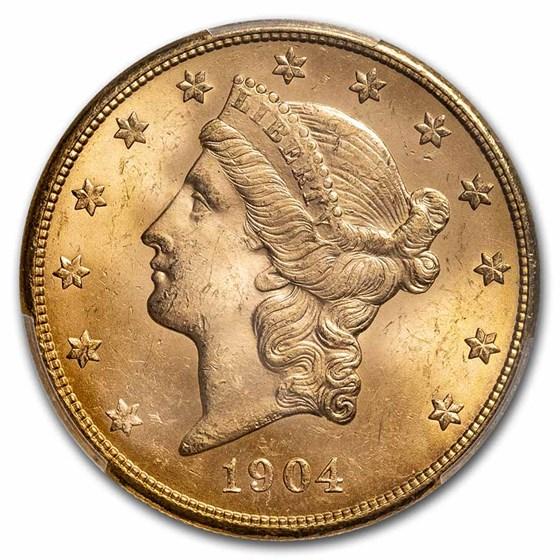 1904-S $20 Liberty Gold Double Eagle MS-64 PCGS