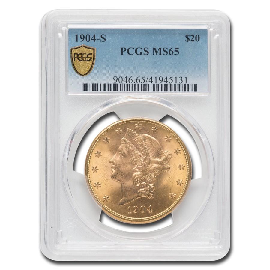1904-S $20 Liberty Gold Double Eagle MS-65 PCGS
