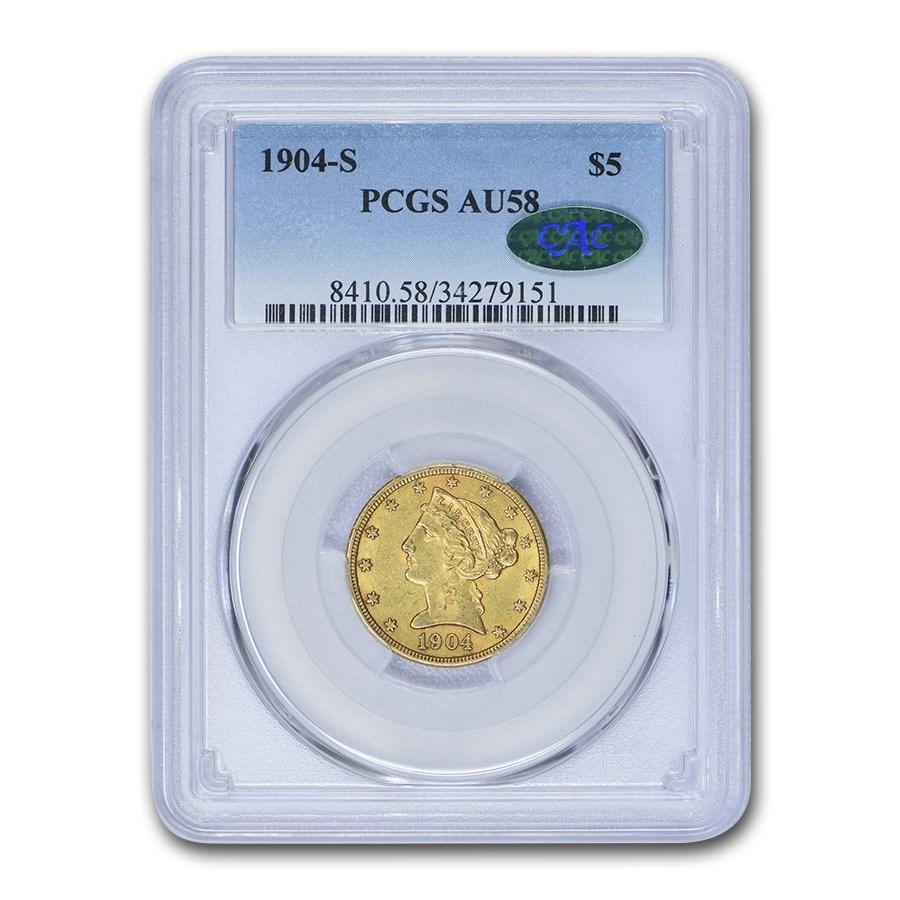 1904-S $5 Liberty Gold Half Eagle AU-58 PCGS CAC
