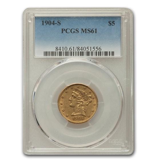 1904-S $5 Liberty Gold Half Eagle MS-61 PCGS