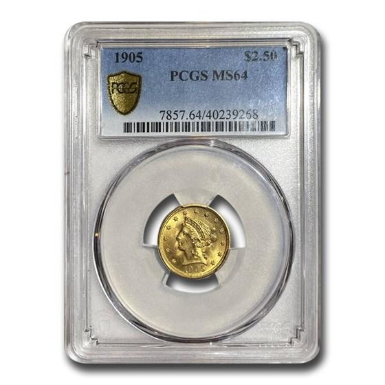 1905 $2.50 Liberty Gold Quarter Eagle MS-64 PCGS