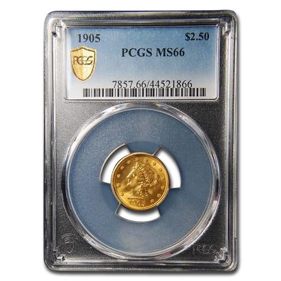 1905 $2.50 Liberty Gold Quarter Eagle MS-66 PCGS