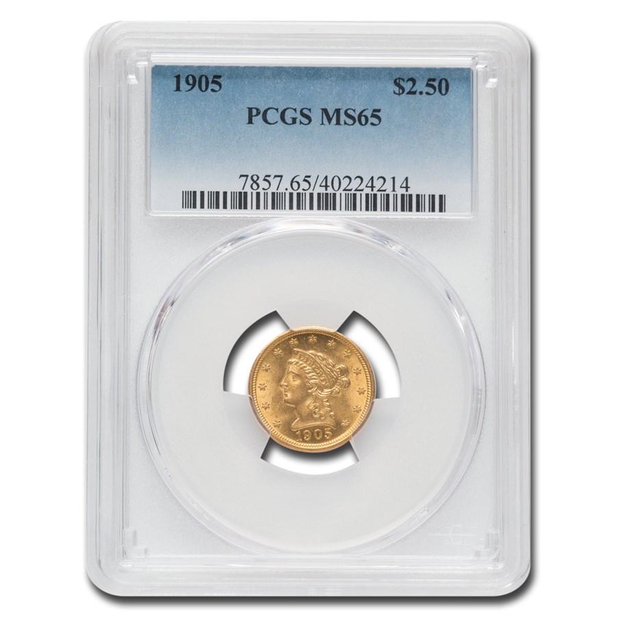 1905 $2.50 Liberty Gold Quarter EagleMS-65 PCGS
