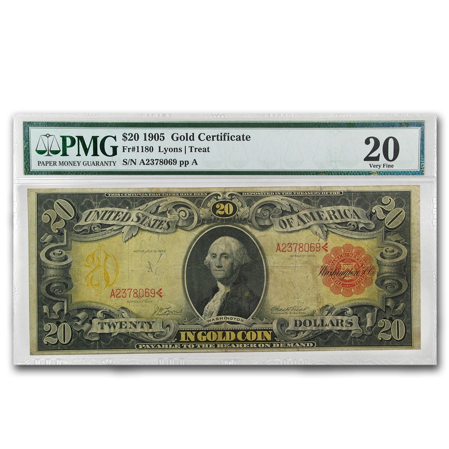 1905 $20 Gold Certificate Technicolor Note VF-20 PMG (Fr#1180)