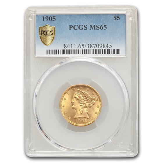 1905 $5 Liberty Gold Half Eagle MS-65 PCGS