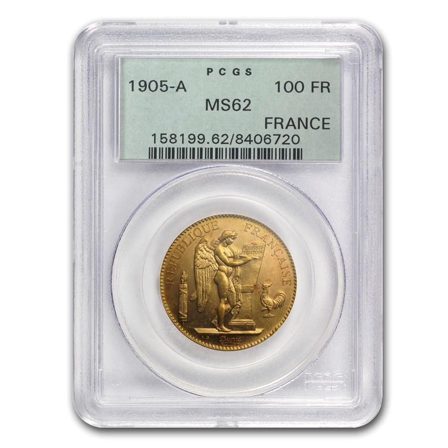 1905 France Gold 100 Francs Angel MS-62 PCGS
