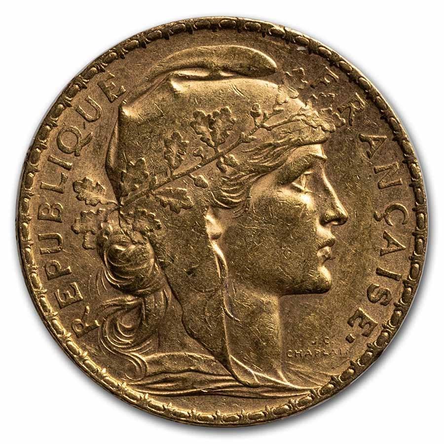 1905 France Gold 20 Francs Rooster AU