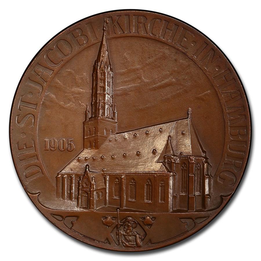1905 German States Hamburg Bronzed AV Medal SP-65 PCGS