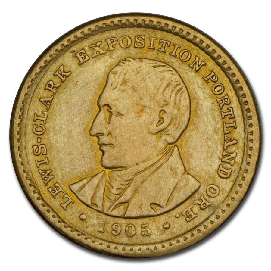 1905 Gold $1.00 Lewis & Clark AU Details (Cleaned)
