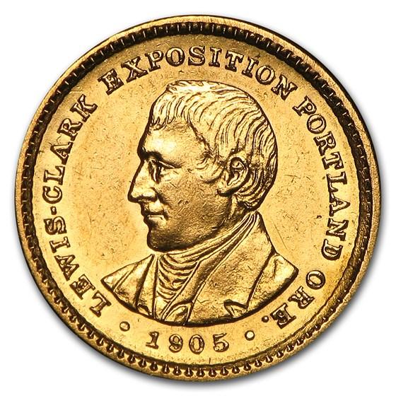 1905 Gold $1.00 Lewis & Clark AU