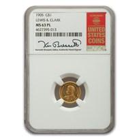 1905 Gold $1.00 Lewis & Clark MS-63 NGC (PL)