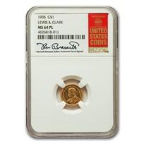 1905 Gold $1.00 Lewis & Clark MS-64 NGC (PL)