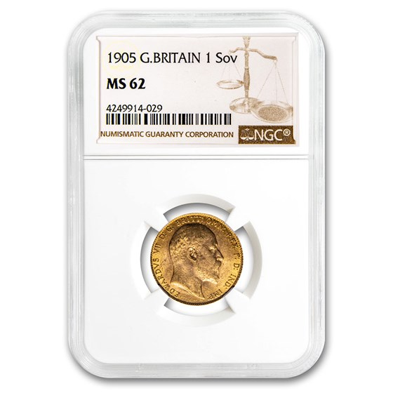 1905 Great Britain Gold Sovereign Edward VII MS-62 NGC