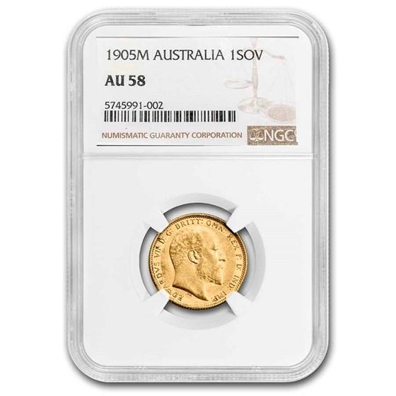 1905-M Australia Gold Sovereign Edward VII AU-58 NGC