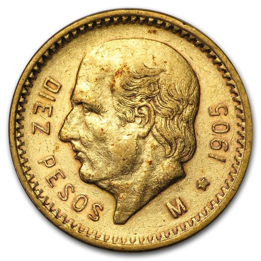 1905 Mexico Gold 10 Pesos XF