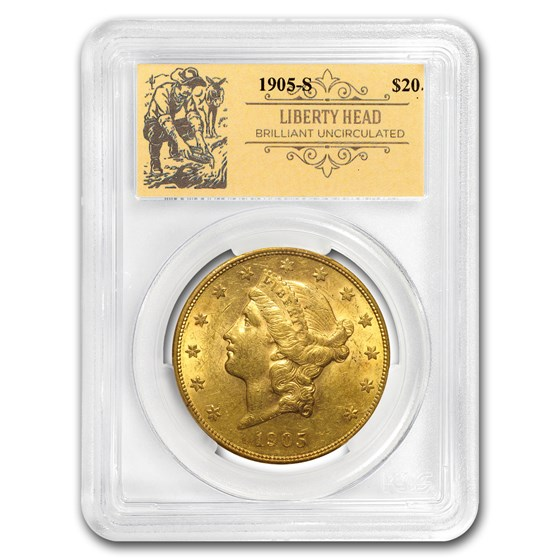 1905-S $20 Liberty Gold Double Eagle BU PCGS (Prospector Label)