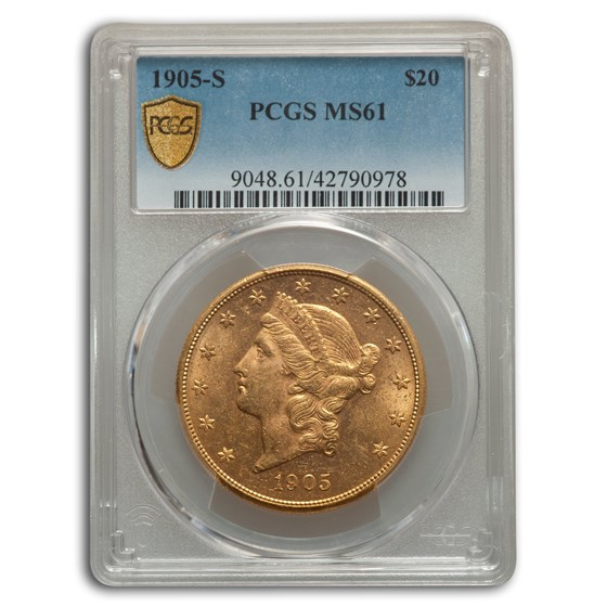 1905-S $20 Liberty Gold Double Eagle MS-61 PCGS