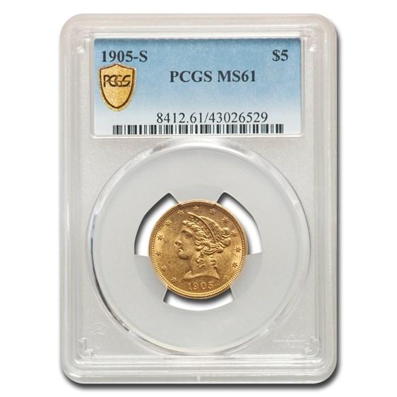 1905-S $5 Liberty Gold Half Eagle MS-61 PCGS