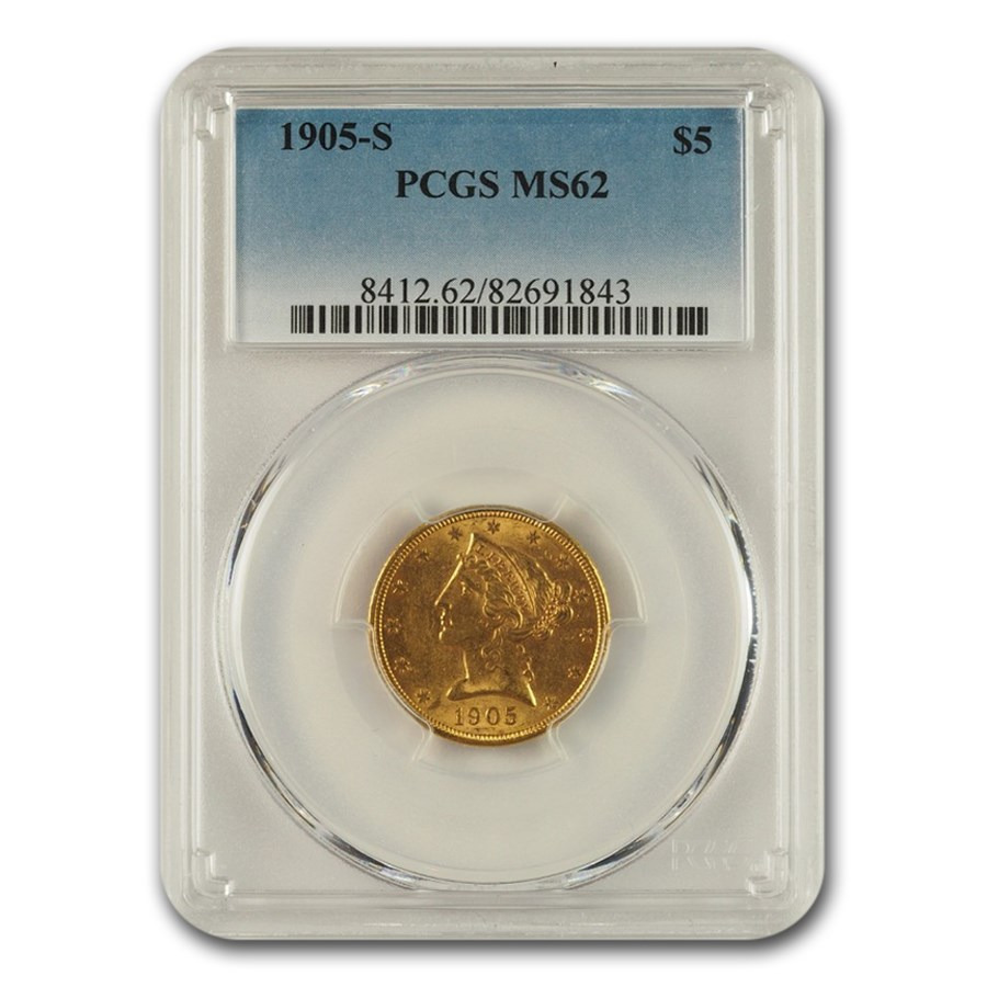 1905-S $5 Liberty Gold Half Eagle MS-62 PCGS