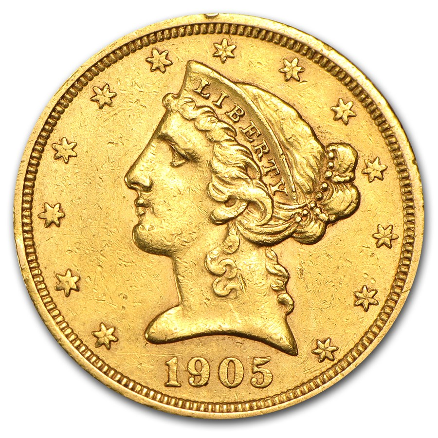1905-S/S $5 Liberty Gold Half Eagle XF (FS-501, Cleaned)