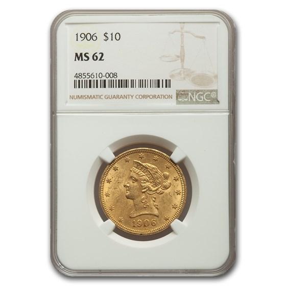 1906 $10 Liberty Gold Eagle MS-62 NGC