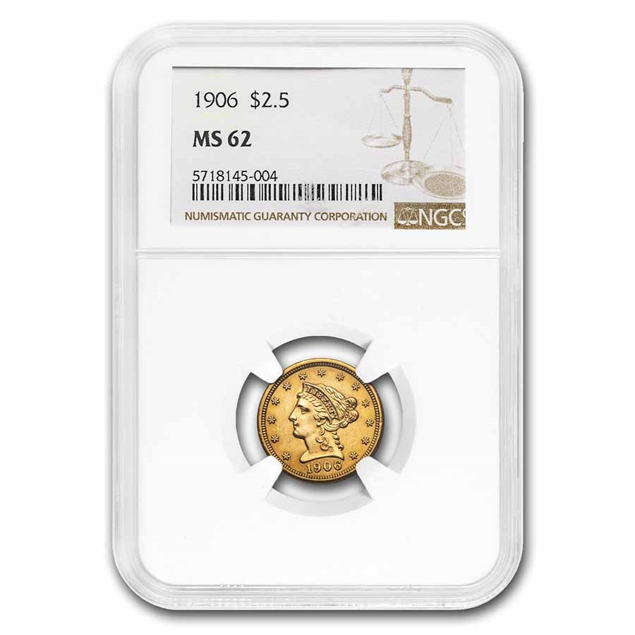 1906 $2.50 Liberty Gold Quarter Eagle MS-62 NGC