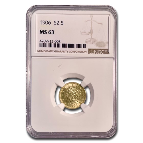 1906 $2.50 Liberty Gold Quarter Eagle MS-63 NGC