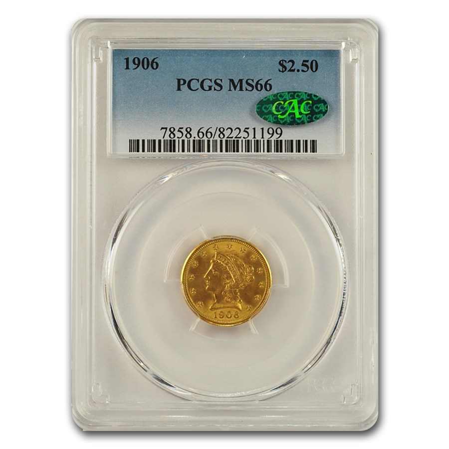 1906 $2.50 Liberty Gold Quarter Eagle MS-66 PCGS CAC