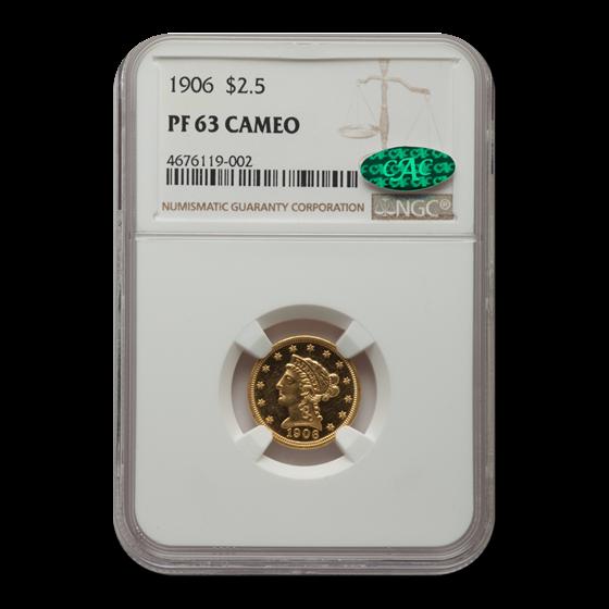 1906 $2.50 Liberty Gold Quarter Eagle PF-63 Cameo NGC CAC