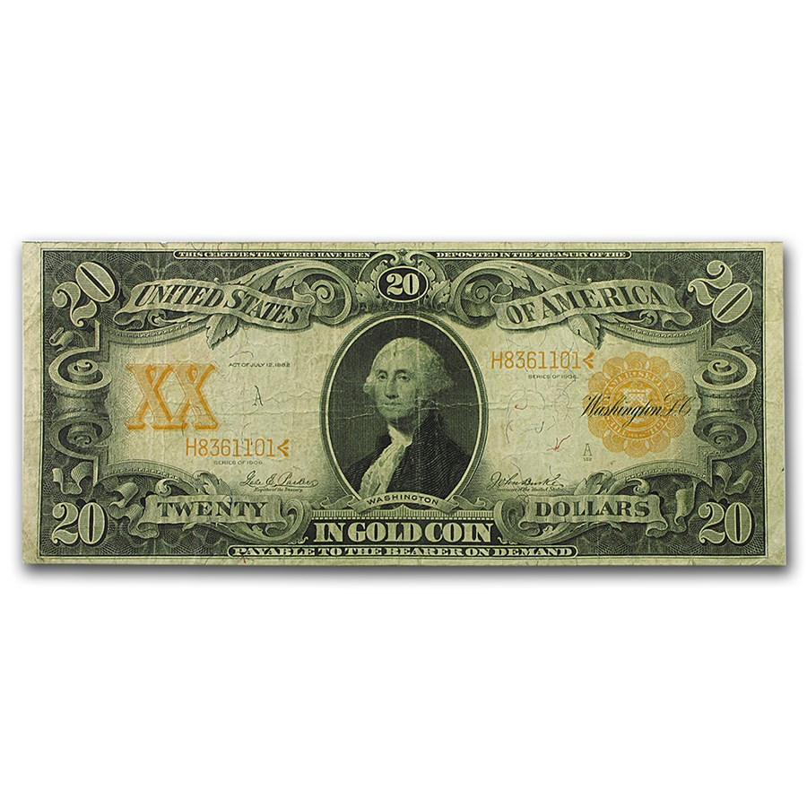 1906 $20 Gold Certificate F/VF